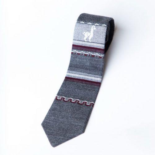 Grey Wool Tie w/ Llama