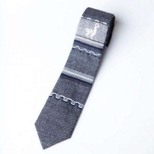 Grey Wool Skinny Tie w/ Llama